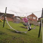 Child on proludic play equipment