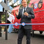 David Cameron by Proludic play equipment giving a statesman like speech