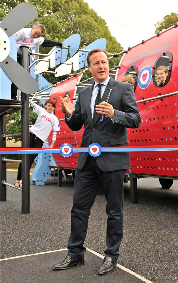 David Cameron opening a Proludic playground at RAF Brize Norton