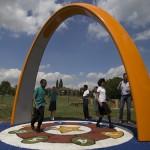 A range of children trialling Proludic's outdoor fitness equipment