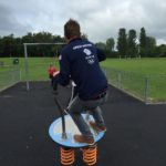 Great Britain Team GB Member playing on Proludic Equipment at West Park Site Opening