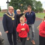 Mayor and Children at West Park Proludic Adventure Play Site Area