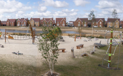 Wixams Play Area Site with Bespoke Playground Design and Children's Play Equipment Birds Eye View v2