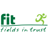 FIT Fields In Trust Small Square White Logo with Running Green Man Graphic v2 Inspiring Through Play