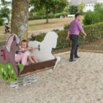 Great New Playground in France Image 2 Children Playing on Proludic Horse Springer Play Equipment