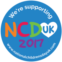 National Children's Day UK 2017 Proludic We're Supporting NCDUK blue button logo