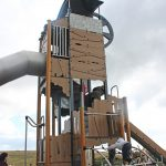 grafic games climbing tower with wooden panels unique playground design example of innovation