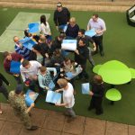 Proludic team problem solving puzzle outside birds eye view